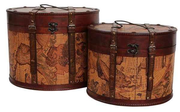 2x Hutkoffer Hutschachtel Hutbox Holz Antik-Stil Hut Box Schachtel Koffer Deko A
