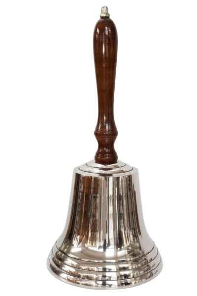 Tischglocke 35cm Handglocke Glocke Schulglocke Antik-Stil Aluminium Holz