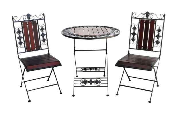 Gartenset Tisch 2 X Stuhl Metall Antik Stil Garten Garnitur Bistro