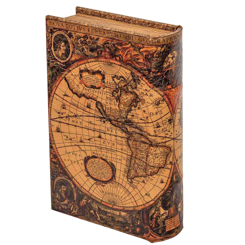 Buchtresor buchsafe buchattrappe geheimversteck geheimsafe weltkarte box 22cm aubaho - Geheimversteck mobel ...