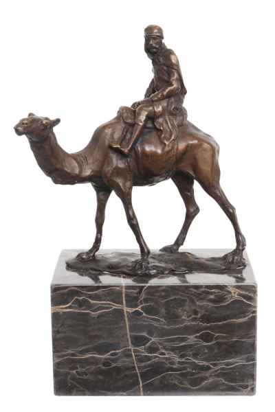 Skulptur Kamel Reiter Antik-Stil Bronzeskulptur Bronze Figur Statue 22cm