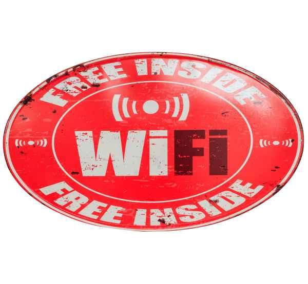 Blechschild Free Wifi Inside WLAN Internet Schild 56cm Wandschild Antik-Stil