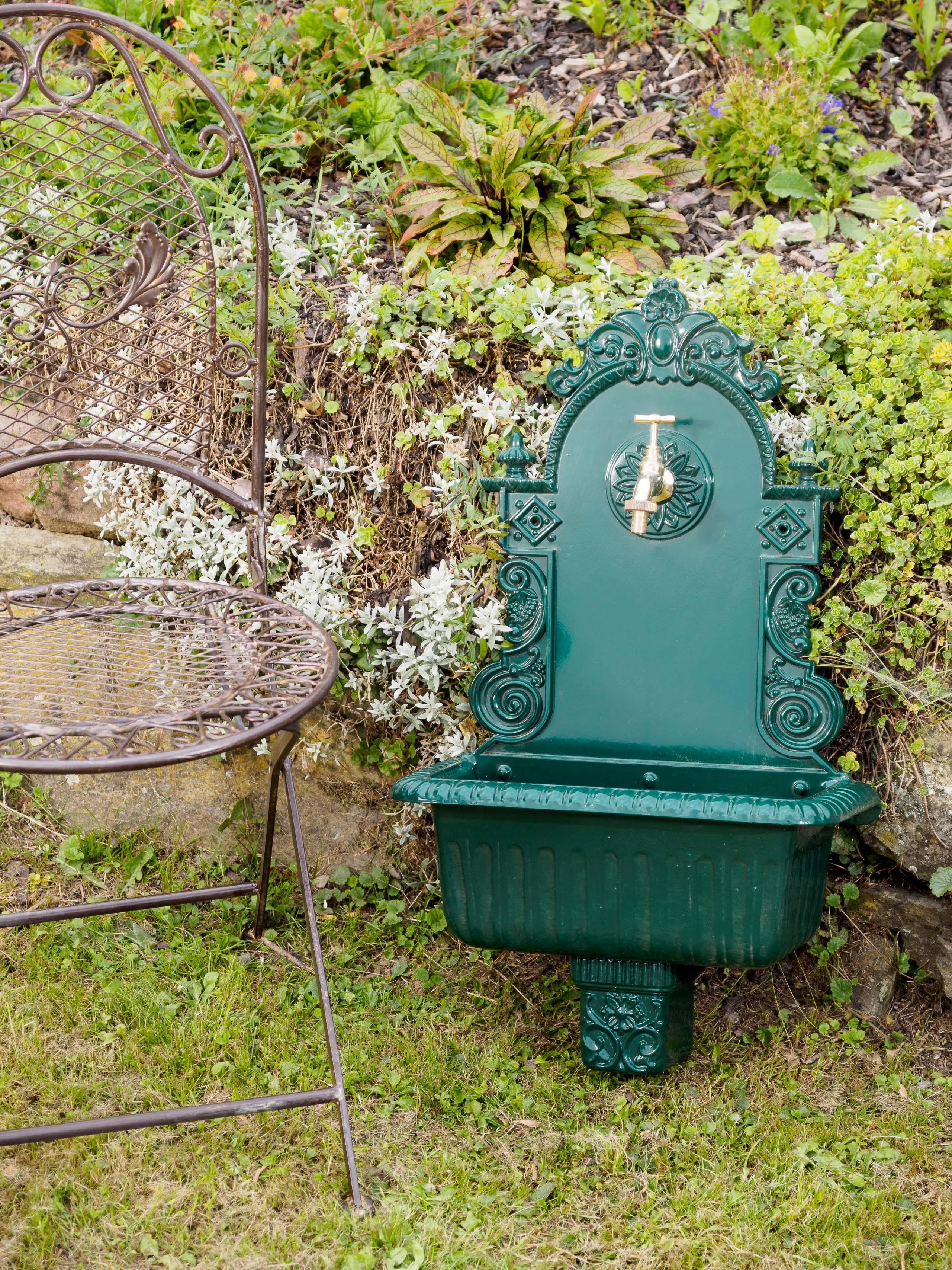 Waschbecken Wandbrunnen Garten Alu Antik Stil Brunnen Waschplatz Bad