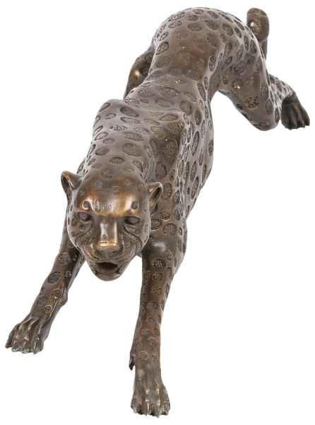 Riesen Bronze Skulptur Figur Panther Leopard 114cm Bronzeskulptur Bronzefigur