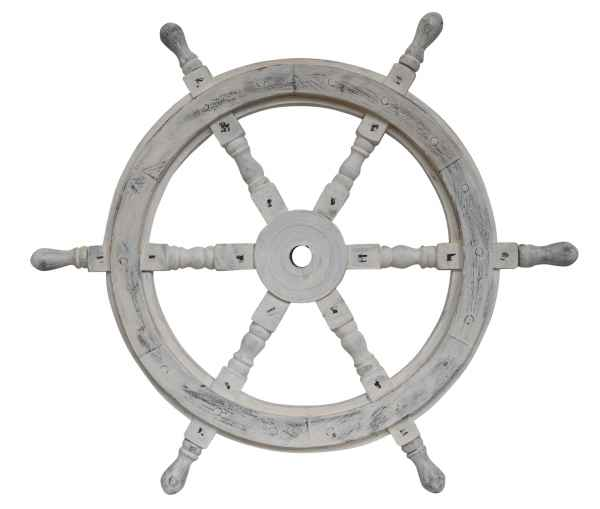 Maritime decorative ship´s wheel - white vintage style - wood - 92cm