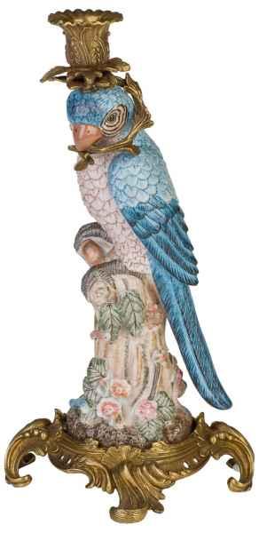 Kerzenhalter Kerzenständer Papagei Porzellan Skulptur Antik-Stil 36cm