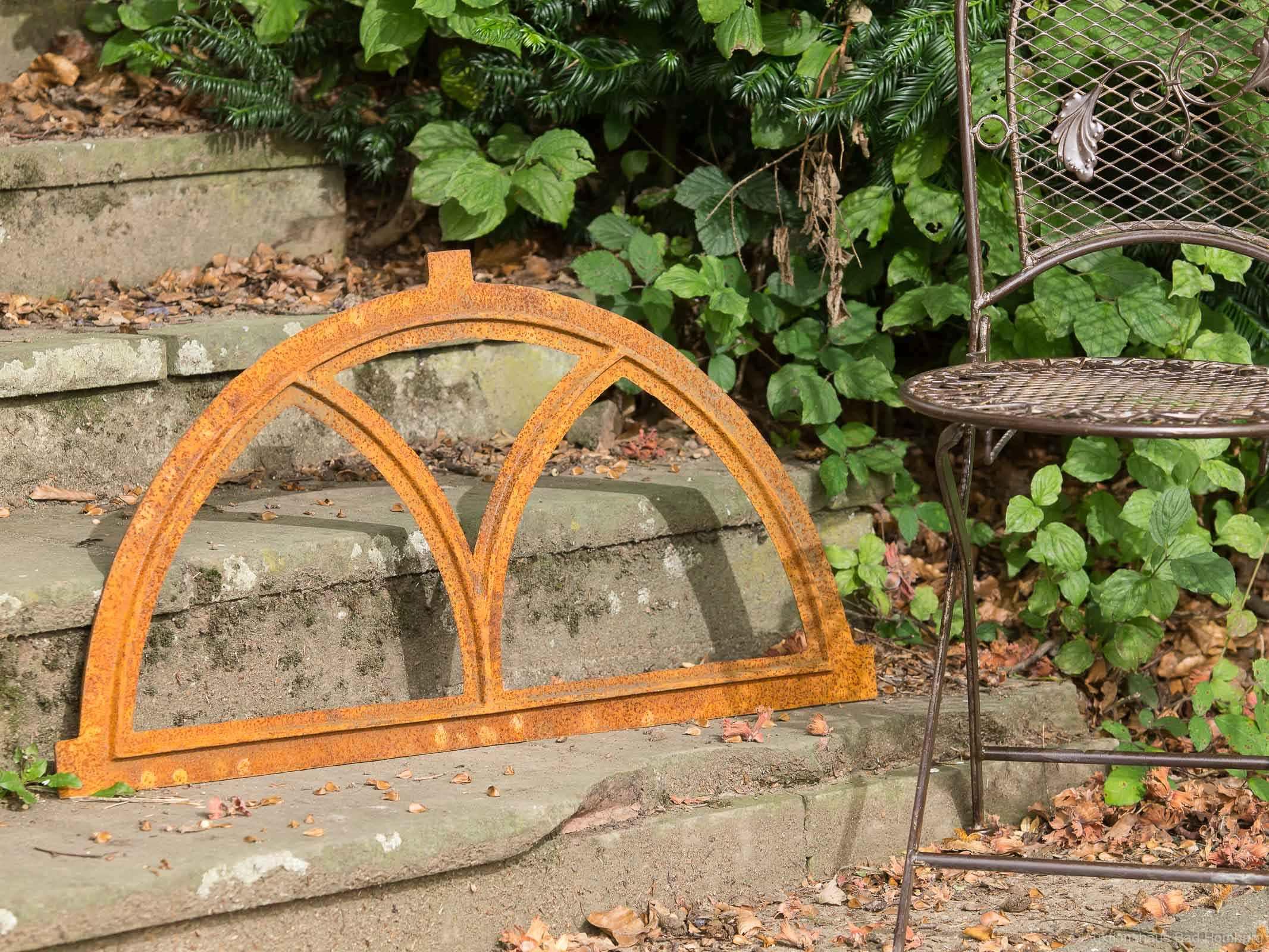 style antique Fenêtre ornementale demi-lune fonte//rouille 44 x 86 cm