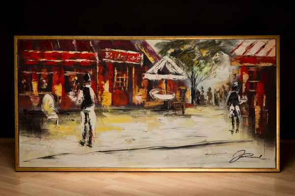 Original Ölgemälde Altstadt Cafe Restaurant Bar Gemälde Leinwand Rahmen 124x64cm