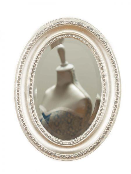 Spiegel antik Stil Facettenschliff silberfarben Holzrahmen 39x29cm mirror