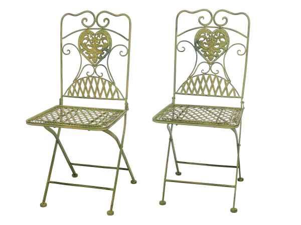 2x Gartenstuhl Paar Stuhl Bistrostuhl Eisen Antik Stil Creme Grün