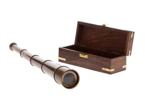 Fernrohr messing cm mit holzbox maritim teleskop monokular