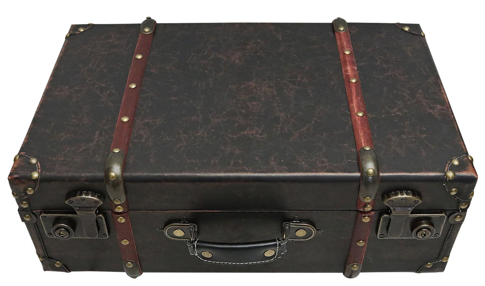 Koffer Holzkoffer 50cm Holz Nostalgie Antik-Stil Oldtimer braun vintage style