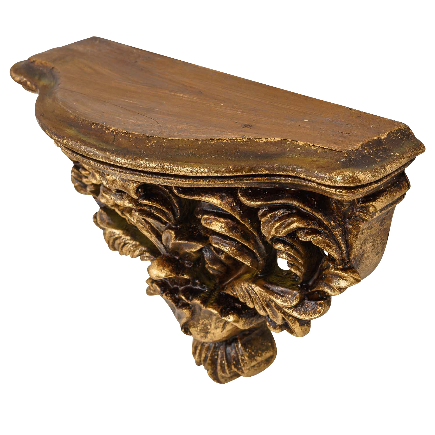 Corbel console shelf wall bracket rack golden antique style 29cm