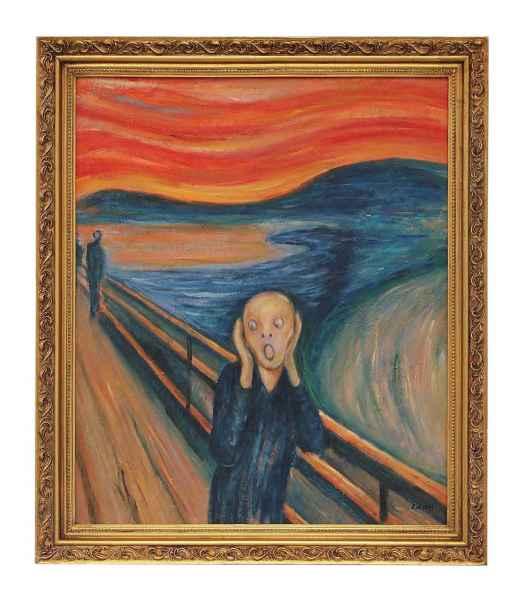 Original Ölgemälde der Schrei nach Edvard Munch Gemälde Holz Rahmen