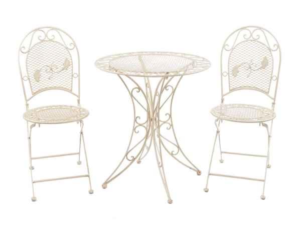 Garten Garnitur Set Tisch Gartentisch 2 Stühle Eisen Antik-Stil creme weiss