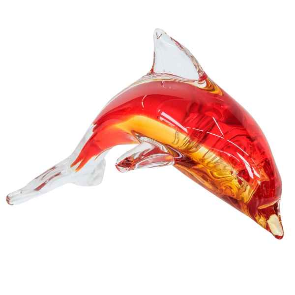 Glasfigur Figur Delfin Delphin Tier Glas im Murano Antik-Stil 16cm