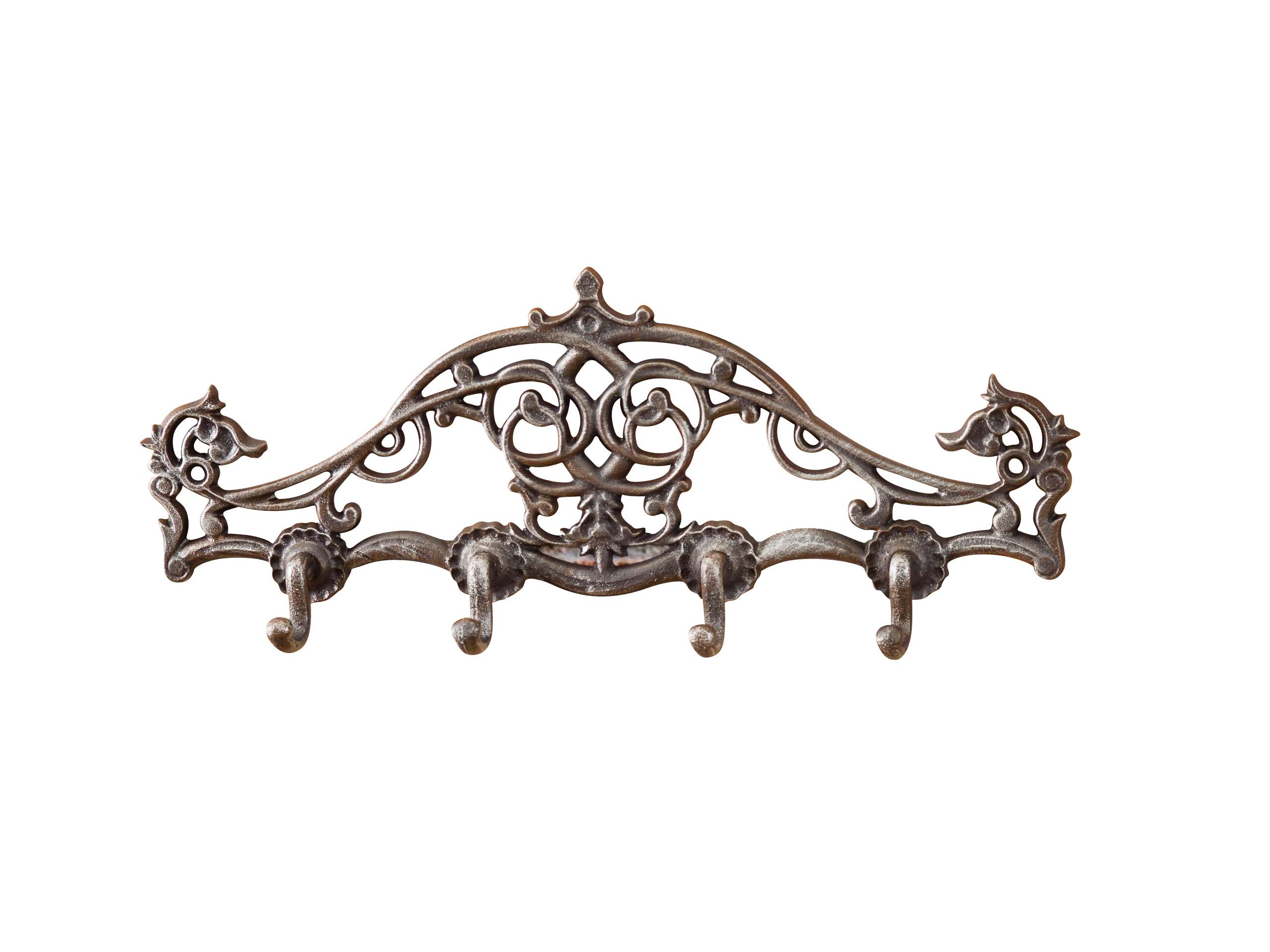 Wandgarderobe Garderobe Handtuchhalter Eisen gründerzeit antik Stil braun 39cm