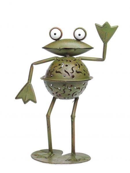 Windlicht Frosch 31cm Teelichthalter Garten garden tealight holder froog