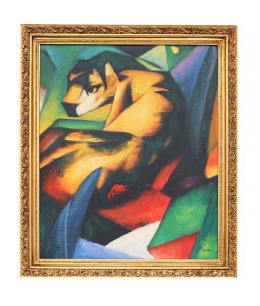 Ölgemälde Reproduktion der Tiger nach Franz Marc Gemälde Holz Rahmen