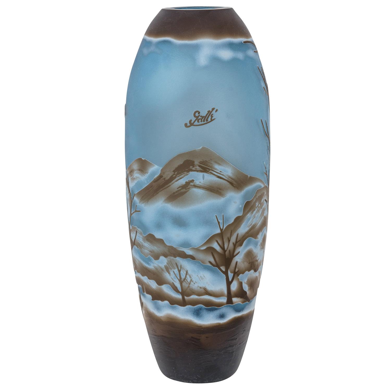 Vase Replika nach Galle Gallé Glasvase Glas Antik-Jugendstil-Stil Kopie d