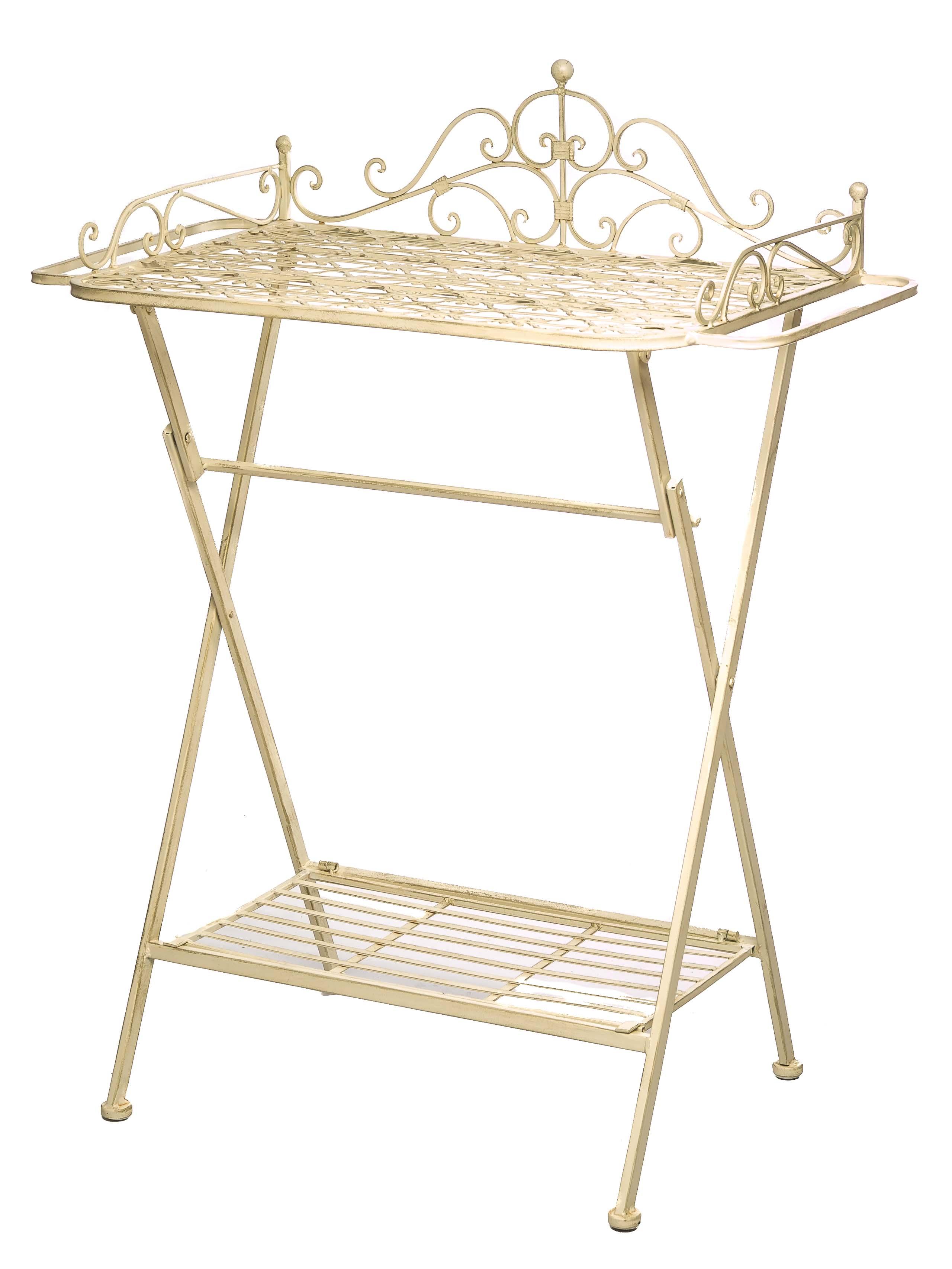 aubaho 2x Butlers tray trolley garden table iron garden folding table table garden