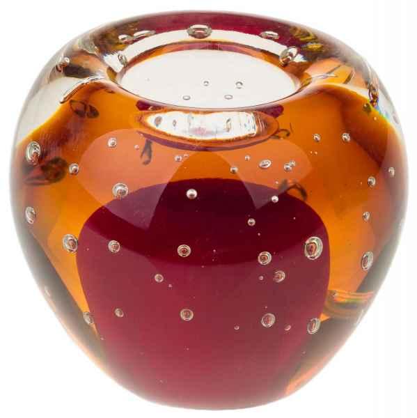 Teelichthalter Windlicht Kerzenhalter Glas im Murano Antik-Stil 9cm (c)