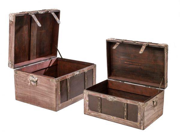 2x TRUHE KOFFER KISTE BOX AUFBEWAHRUNG BOXEN CASE TRUHEN NOSTALGIE ANTIK STIL