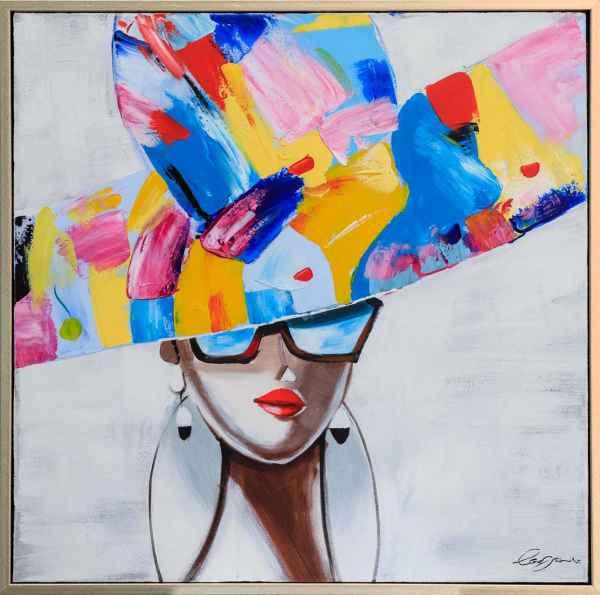 Peintures A L Huile Avec Cadre Femme Au Chapeau Moda 84cm Aubaho