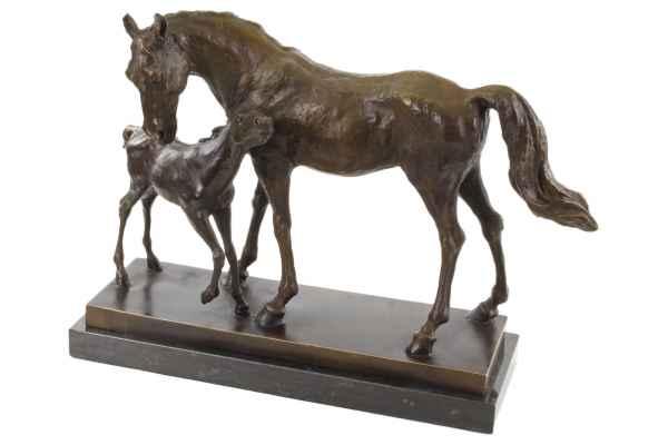 Bronzeskulptur Stute Fohlen Dekoration Moderne Skulptur Figur Antik-Stil 45cm