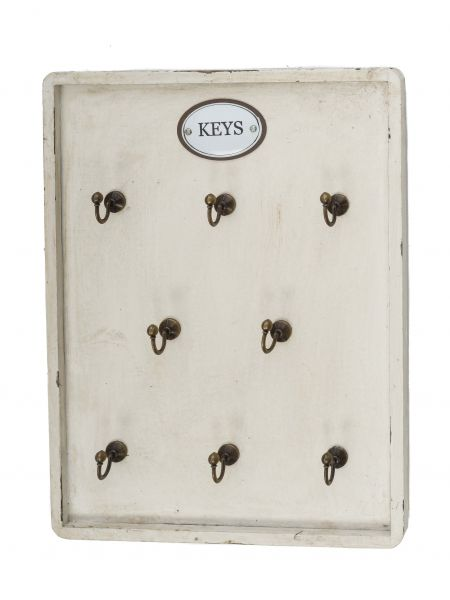 Schlüsselbrett im antik Stil Schlüsselkasten Landhaus Shabby chic Holz weiß