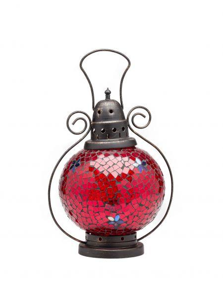 Windlicht Laterne Lampe Teelicht Garten Terasse Haus Glas Buntglas rot 31cm