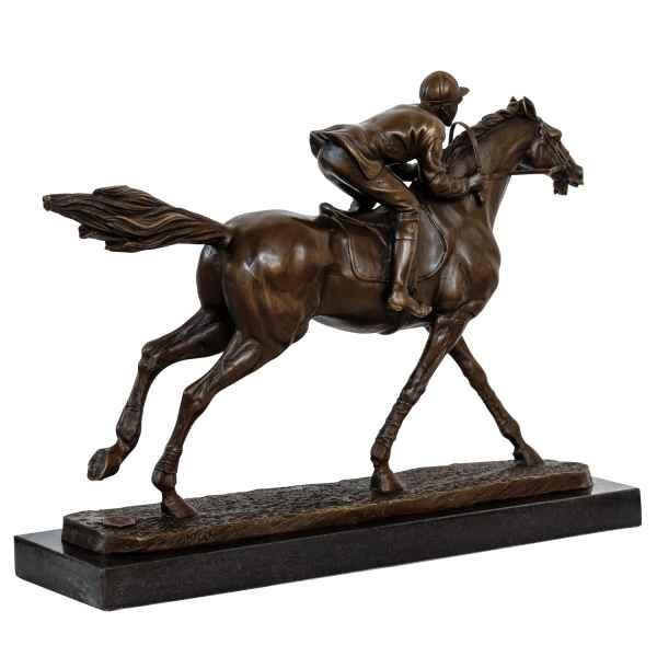 Bronzeskulptur Jockey Rennreiter Pferd im Antik-Stil Bronze Figur 30cm