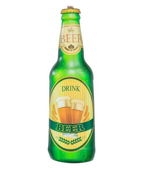 Plaque publicitaire tôle bouteille de bière Drink Beer 61cm style antique