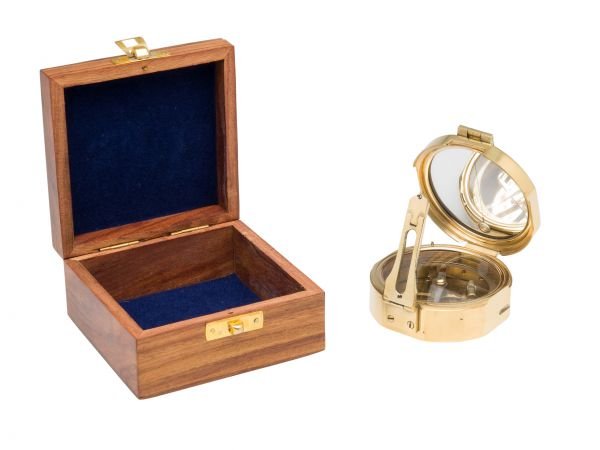 Kompass Maritim Schiff Dekoration Navigation Messing mit Holzbox und Spiegel