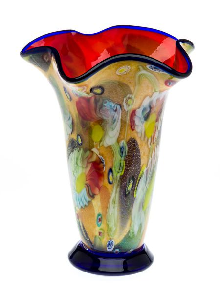 Glasvase 4,8kg Glas Vase Italien Murano Stil Höhe 37cm schwere Tischvase glass