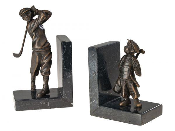 Paar Bronze Buchstützen Golf Buchstütze Golfspieler Buch Antikstil bookend book