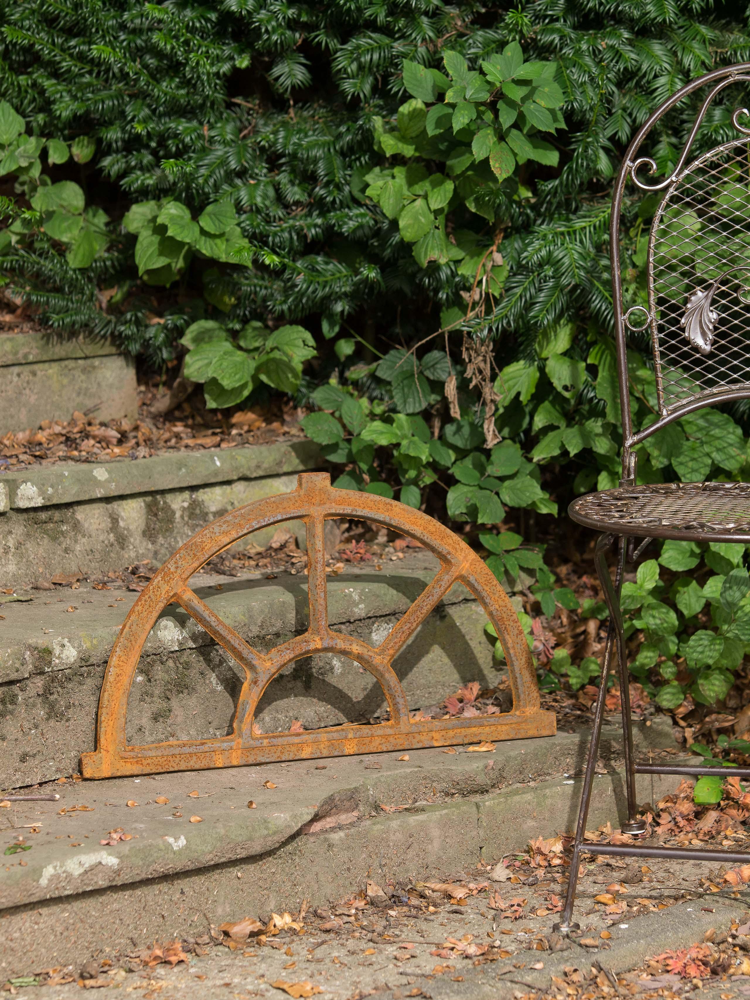 fonte//rouille 35 x 64 cm Fenêtre ornementale demi-lune style antique