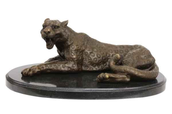 Bronzeskulptur Leopard Bronze Raubkatze 28cm Statue Bronzefigur Antik-Stil