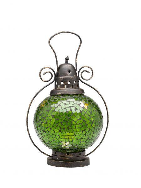 Windlicht Laterne Lampe Teelicht Garten Terasse Haus Glas Buntglas grün 31cm