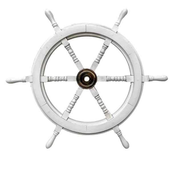Barre à roue de navire - bois - 76cm - Style antique blanc