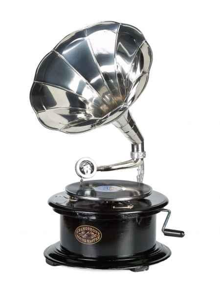 Grammophon Holz Schellack Platten Trichtergrammophon Gramophone antik Stil rund
