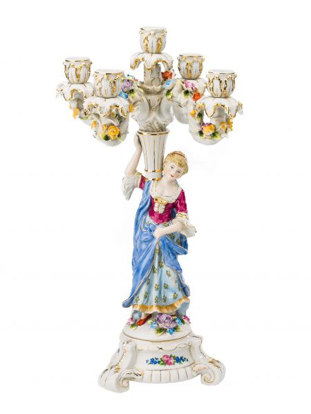 Kerzenleuchter Porzellan 47cm Kerzenständer Frau Blumen antik Stil porcelain