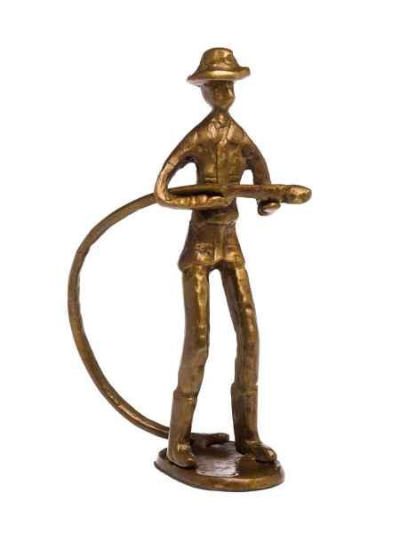 Skulptur Feuerwehrmann Feuerwehr Antik-Stil Bronze Figur Moderne Kunst
