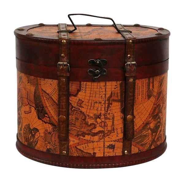 Hutkoffer 34cm Hutschachtel Hutbox Holz Antik-Stil Hut Box Schachtel Koffer Deko