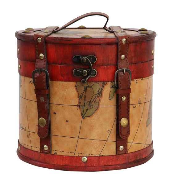 Hutkoffer 31cm Hutschachtel Hutbox Holz Antik-Stil Hut Box Schachtel Koffer Deko