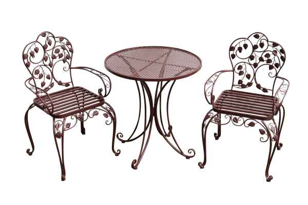 Garden furniture set - table & 2 chairs - brown - antique style ...