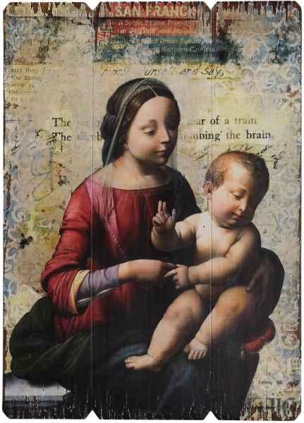 Ikone Bild Maria mit Jesus Kind Holz Holztafel Druck Kirche Antik-Stil 70cm
