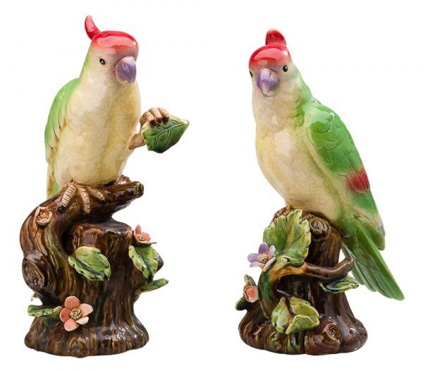 2x Porzellan Skulptur Kakadu Papagei Paar Vogel Figur 25cm antik Stil porcelain