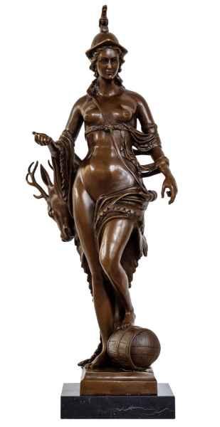 Bronzeskulptur Diana Göttin Jagd Antik-Stil Bronze Figur Statue 70cm