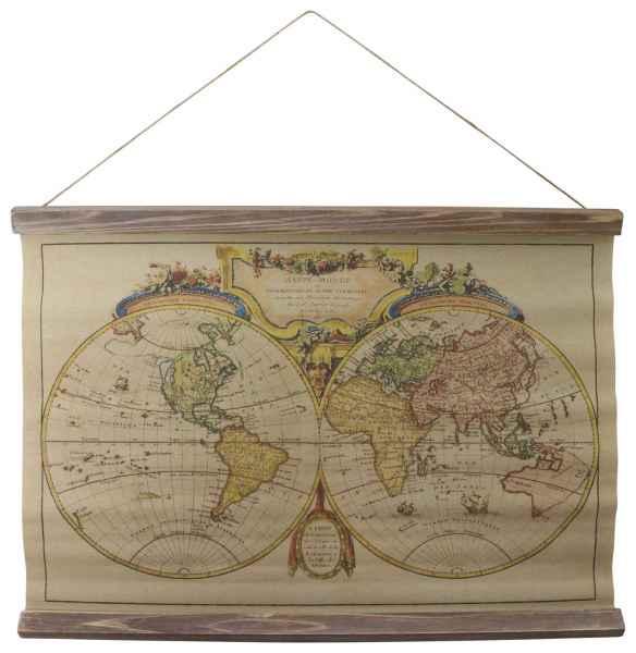 Landkarte Weltkarte historische Karte Wandkarte Antik-Stil Mappe Monde